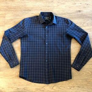 Topman Checkered Navy Dress Shirt - Size M